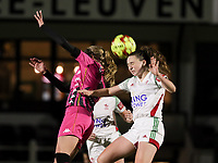 Ludmila Matavkova (9 Charleroi) and Estee Cattoor (11 OHL) battle for the ball during a female soccer game between Oud Heverlee Leuven and Sporting de Charleroi on the seventh matchday of the 2020 - 2021 season of Belgian Womens Super League , sunday 15 th of November 2020  in Heverlee , Belgium . PHOTO SPORTPIX.BE | SPP | SEVIL OKTEM
