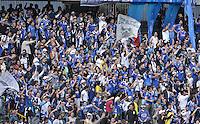 BOGOTÁ -COLOMBIA, 17-05-2015. Seguidores de Millonarios animan a su equipo durante el encuentro entre Independiente Santa Fe y Millonarios por la fecha 20 de la Liga Aguila I 2015 jugado en el estadio Nemesio Camacho El Campín de la ciudad de Bogotá./ Folllowers f Millonarios cheer their team during the match between Independiente Santa Fe and Millonarios for the 20th date of the Aguila League I 2015 played at Nemesio Camacho El Campin stadium in Bogotá city. Photo: VizzorImage/ Gabriel Aponte / Staff
