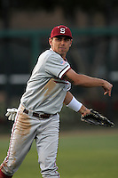 Tyler Gaffney of the Stanford Cardinal in the field against the USC Trojans at Dedeaux Field in Los Angeles,California on April 8, 2011. Photo by Larry Goren/Four Seam Images