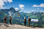 Austria, Vorarlberg, Kleinwalsertal, Mittelberg: view terrace at Walmendingerhorn upper station with view into the Allgaeu Alps with summit Widderstein 2.558 m | Oesterreich, Vorarlberg, Kleinwalsertal, Mittelberg: Aussichtsterrasse der Bergstation Walmendingerhorn mit Blick in die Allgaeuer Alpen mit Widderstein 2.558 m