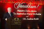 27 October 2015, Chennai, India : Andrew  Robb, AO, Minister for Trade and Investment at  a reception for Australian World Orchestra during his visit to India. Picture by Graham Crouch/DFAT