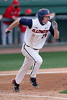 Left fielder Nathan Aide (29) of the Illinois Fighting Illini hustles down the first base line against the Ohio State Buckeyes on Friday, March 5, 2021, at Fluor Field at the West End in Greenville, South Carolina. (Tom Priddy/Four Seam Images)
