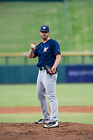AZL Brewers starting pitcher Chase Williams (59) asks for two additional warmup pitches during a game against the AZL Cubs on August 1, 2017 at Sloan Park in Mesa, Arizona. Brewers defeated the Cubs 5-4. (Zachary Lucy/Four Seam Images)