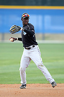 Toronto Blue Jays minor league shortstop Adeiny Hechavarria #11 during a game vs the New York Yankees at the Englebert Minor League Complex in Dunedin, Florida;  March 21, 2011.  Photo By Mike Janes/Four Seam Images