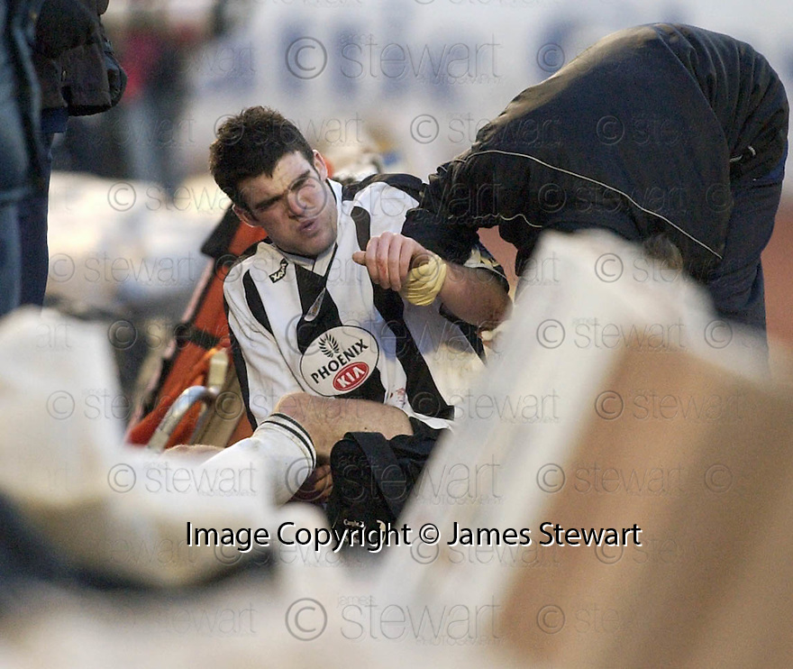 23/01/2005  Copyright Pic : James Stewart.File Name : jspa12_st mirren v airdrie.STUART KEAN SHOW HIS INJURIES AFTER BEING PUSHED OFF THE FIELD ON TO THE RED ASH AT THE SIDE OF THE PARK....Payments to :.James Stewart Photo Agency 19 Carronlea Drive, Falkirk. FK2 8DN      Vat Reg No. 607 6932 25.Office     : +44 (0)1324 570906     .Mobile   : +44 (0)7721 416997.Fax         : +44 (0)1324 570906.E-mail  :  jim@jspa.co.uk.If you require further information then contact Jim Stewart on any of the numbers above.........A