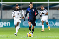 WIENER NEUSTADT, AUSTRIA - : Giovanni Reyna #7of the United States runs with the ball during a game between  at Stadion Wiener Neustadt on ,  in Wiener Neustadt, Austria.