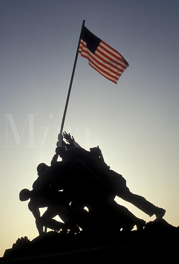 AJ3153, Iwo Jima, Marine Corps War Memorial, silhouette, Arlington National Cemetery, Arlington, Virginia, A silhouette of the raising of the U.S. flag at Iwo Jima, Marine Corps War Memorial at Arlington National Cemetery in Arlington in the state of Virginia.