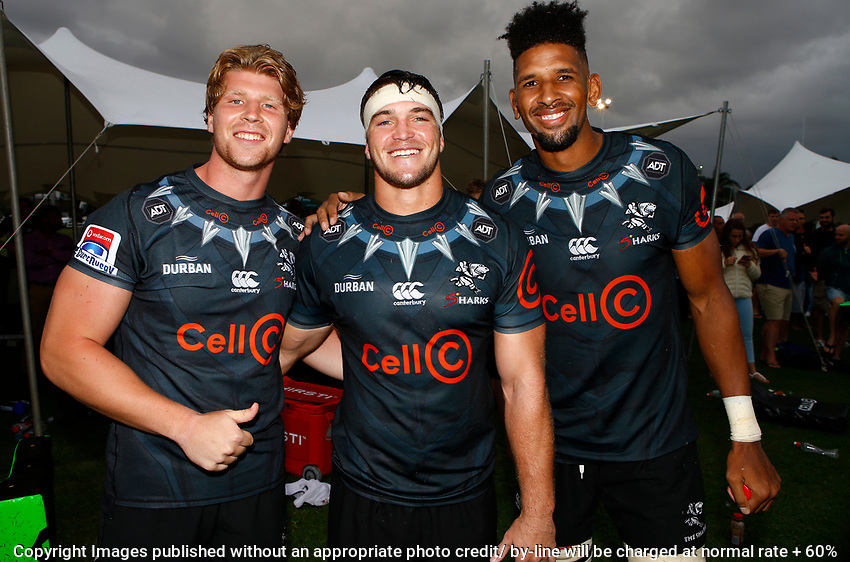Evan Roos with Kieren Van Vuuren of the Cell C Sharks and Hyron Andrews of the Cell C Sharks during the preseason rugby match between The Cell C Sharks and Russia at Jonsson Kings Park Stadium in Durban, South Africa on Friday, 10 January 2020. Photo: Steve Haag / stevehaagsports.com