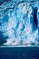 Tidewater face of Aialik glacier, calving into Aialik Bay, Kenai Fjords National Park, Alaska