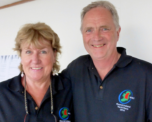 The late Sadie Phelan, long-serving President of Wicklow Sailing Club, with WSC Round Ireland Race Chairman Peter Shearer while monitoring the 2014 Race