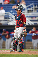 Mahoning Valley Scrappers catcher Li-Jen Chu (16) during a game against the Batavia Muckdogs on June 22, 2015 at Dwyer Stadium in Batavia, New York.  Mahoning Valley defeated Batavia 15-11.  (Mike Janes/Four Seam Images)