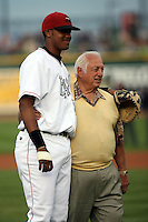 June 16th 2008:  Former Los Angeles Dodgers manager Tommy Lasorda and Great Lakes Loons catcher Kenley Jansen during the Midwest League All-Star Home Run Derby at Dow Diamond in Midland, MI.  Photo by:  Mike Janes/Four Seam Images