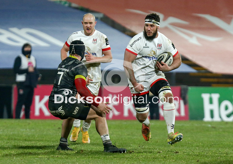 2nd January 2021   Ulster vs Munster <br /> <br /> Marcell Coetzee is tackled by Chris Cloete during the PRO14 Round 10 clash between Ulster Rugby and Munster Rugby at the Kingspan Stadium, Ravenhill Park, Belfast, Northern Ireland. Photo by John Dickson/Dicksondigital