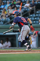 Shortstop Alejandro Salazar (7) of the Rome Braves bats in a game against the Greenville Drive on Wednesday, August 31, 2016, at Fluor Field at the West End in Greenville, South Carolina. Rome won, 9-1. (Tom Priddy/Four Seam Images)