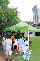Fans at the Publix USA Bid tent during the Women's Professional Soccer (WPS) All-Star Fan Fest at Centennial Olympic Park in Atlanta, GA, on June 28, 2010.