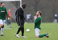 A Lockers FC player appears to pray to referee not to book him during a Hackney & Leyton Sunday League match at Hackney Marshes - 25/10/09 - MANDATORY CREDIT: Gavin Ellis/TGSPHOTO - Self billing applies where appropriate - Tel: 0845 094 6026