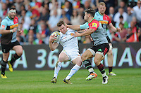 Will Chudley of Exeter Chiefs and Danny Care of Harlequins tussle in midfield during the Aviva Premiership match between Harlequins and Exeter Chiefs at The Twickenham Stoop on Saturday 7th May 2016 (Photo: Rob Munro/Stewart Communications)