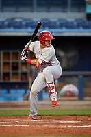 Palm Beach Cardinals third baseman Evan Mendoza (4) at bat during a game against the Charlotte Stone Crabs on April 20, 2018 at Charlotte Sports Park in Port Charlotte, Florida.  Charlotte defeated Palm Beach 4-3.  (Mike Janes/Four Seam Images)