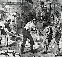 Laying The Nicolson Wood Pavement In 14th Street, New York City, 1869 Artist Unknown