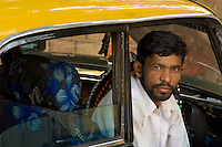 Mumbai, a proud Mumbai Taxi Driver in the Banganga area,India