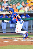 Tennessee Smokies catcher Ian Rice (5) runs to first base during a game against the Mobile BayBears at Smokies Stadium on June 2, 2018 in Kodak, Tennessee. The BayBears defeated the Smokies 1-0. (Tony Farlow/Four Seam Images)
