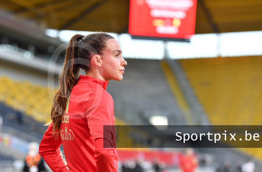 Belgian Silke Vanwynsberghe (18) pictured during a friendly female soccer game between the national teams of Germany and  Belgium , called the Red Flames  in a pre - bid tournament called Three Nations One Goal with the national teams from Belgium , The Netherlands and Germany towards a bid for the hosting of the 2027 FIFA Women's World Cup , on Sunday 21 st of February 2021  in Aachen , Germany . PHOTO SPORTPIX.BE | SPP | STIJN AUDOOREN