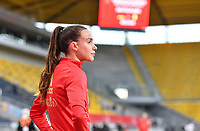 Belgian Silke Vanwynsberghe (18) pictured during a friendly female soccer game between the national teams of Germany and  Belgium , called the Red Flames  in a pre - bid tournament called Three Nations One Goal with the national teams from Belgium , The Netherlands and Germany towards a bid for the hosting of the 2027 FIFA Women's World Cup , on Sunday 21 st of February 2021  in Aachen , Germany . PHOTO SPORTPIX.BE   SPP   STIJN AUDOOREN