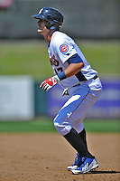 Tennessee Smokies third baseman Kris Bryant #17 leads off first during a game against Chattanooga Lookouts at Smokies Park on April 10, 2014 in Kodak, Tennessee. The Lookouts defeated the Smokies 1-0. (Tony Farlow/Four Seam Images)