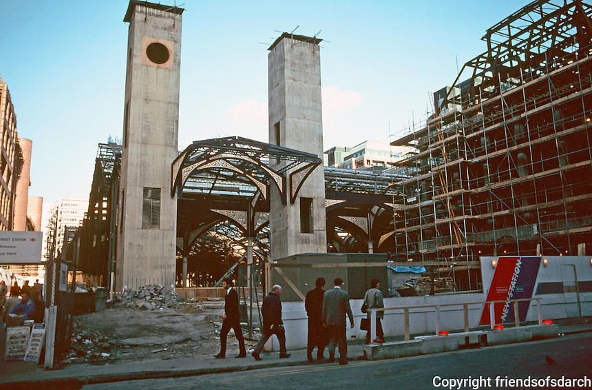 London:  Liverpool St. Station--undergoing rebuilding, Jan. '90.