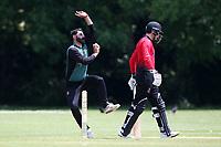 S Khan in bowling action for Harold Wood during Hornchurch CC vs Harold Wood CC, Hamro Foundation Essex League Cricket at Harrow Lodge Park on 5th June 2021