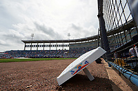 A base sits on the warning track before a New York Yankees Spring Training game against the Detroit Tigers on March 2, 2016 at George M. Steinbrenner Field in Tampa, Florida.  New York defeated Detroit 10-9.  (Mike Janes/Four Seam Images)