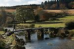 Postbridge Dartmoor Devon UK. The Clapper Bridge. Autumn Dartmoor. 2012