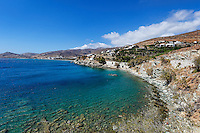 The beach below the church of St. Markos in Tinos island, Greece