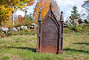 1800s headstone at Old Cemetery on Millen Pond Road in Washington, New Hampshire during the autumn months.