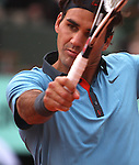 June 7, 2009.Roger Federer of Switzerland, in action defeating Robin Soderling of Sweeden in the final of the French Open, at Roland Garros, Paris