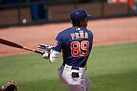Houston Astros Jeremy Peña (89) bats during a Major League Spring Training game against the Miami Marlins on March 21, 2021 at Roger Dean Stadium in Jupiter, Florida.  (Mike Janes/Four Seam Images)