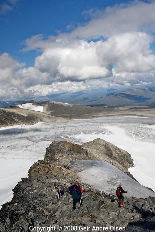 Descending from Galdhopiggen, Norway's highest mountain, 2469 meters above sea-level