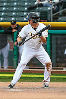 Todd Cunningham (9) of the Salt Lake Bees at bat against the Memphis Redbirds in Pacific Coast League action at Smith's Ballpark on May 24, 2016 in Salt Lake City, Utah. The Bees defeated the Redbirds 7-5. (Stephen Smith/Four Seam Images)