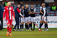 19th December 2020; Dens Park, Dundee, Scotland; Scottish Championship Football, Dundee FC versus Dunfermline; Charlie Adam of Dundee is congratulated after scoring for 1-0 by in the 36th minute