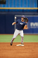 Connor Hollis (4) waits to receive a throw during the Tampa Bay Rays Instructional League Intrasquad World Series game on October 3, 2018 at the Tropicana Field in St. Petersburg, Florida.  (Mike Janes/Four Seam Images)
