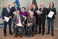 Der Wehrbeauftragte des Deutschen Bundestages, Hans-Peter Bartels (vorne links), uebergibt am Dienstag den 20. Februar 2018 seinen Jahresbericht 2017 an Bundestagspraesident Wolfgang Schaeuble (vorne rechts).<br /> Im Bild stehend vlnr.: <br /> Ruediger Lucassen (AfD);<br /> Thomas Hitschler (SPD);<br /> Anita Schaefer (CDU);<br /> Tobias Lindner (Buendnis 90/Die Gruenen);<br /> Wolfgang Helmich (SPD);<br /> Christine Buchholz (Linkspartei).<br /> 20.2.2018, Berlin<br /> Copyright: Christian-Ditsch.de<br /> [Inhaltsveraendernde Manipulation des Fotos nur nach ausdruecklicher Genehmigung des Fotografen. Vereinbarungen ueber Abtretung von Persoenlichkeitsrechten/Model Release der abgebildeten Person/Personen liegen nicht vor. NO MODEL RELEASE! Nur fuer Redaktionelle Zwecke. Don't publish without copyright Christian-Ditsch.de, Veroeffentlichung nur mit Fotografennennung, sowie gegen Honorar, MwSt. und Beleg. Konto: I N G - D i B a, IBAN DE58500105175400192269, BIC INGDDEFFXXX, Kontakt: post@christian-ditsch.de<br /> Bei der Bearbeitung der Dateiinformationen darf die Urheberkennzeichnung in den EXIF- und  IPTC-Daten nicht entfernt werden, diese sind in digitalen Medien nach §95c UrhG rechtlich geschuetzt. Der Urhebervermerk wird gemaess §13 UrhG verlangt.]