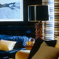 Detail of the rich and varied materials of the furniture and soft furnishings in the library