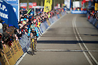 Wout Van Aert (BEL) with 1 lap to go before becoming the 2014 World Champion<br /> <br /> 2014 UCI cyclo-cross World Championships, Men U23