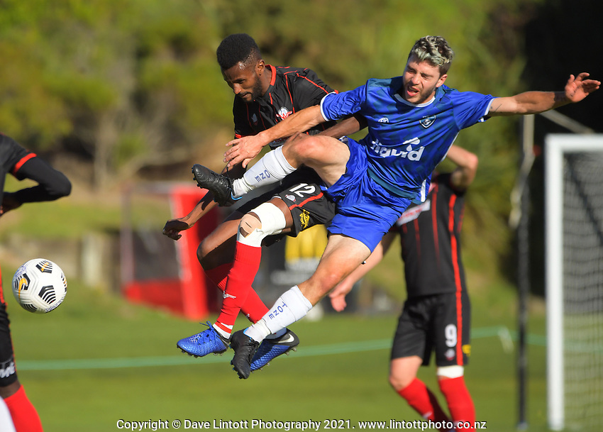 Action from the Central League football match between Western Suburbs and Petone at Endeavour Park in Wellington, New Zealand on Sunday, 2 May 2021. Photo: Dave Lintott / lintottphoto.co.nz