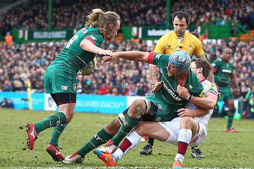 28.02.2015.  Leicester, England.  Aviva Premiership. Leicester Tigers versus Sale Sharks. Captain Jordan Crane  (Leicester Tigers) working hard in the loose supported by Sam Harrison.
