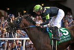 DEL MAR, CA July 28: Ransom the Moon and Flavien Prat surge from way back to win the Grade I Bing Crosby Stakes at Del Mar on July 28, 2018 in Del Mar, California (Photo by Chris Crestik/Eclipse Sportswire)