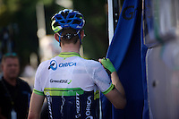 Luke Durbridge (AUS/Orica-GreenEDGE) after a HOT day on the bike<br /> <br /> 2014 Tour de France<br /> stage 12: Bourg-en-Bresse - Saint-Etiènne (185km)
