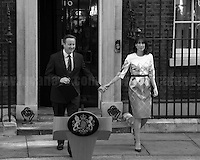"""24.06.2016 - 8:17AM - The British Prime Minister David Cameron, along with his wife Samantha, opened the door of Number 10 to give a speech about the EU Referendum result, and about his defeat, and to communicate to the Country and to the rest of the world his formal resignation within 3 months. <br /> <br /> London, March-July 2016. Reporting the EU Referendum 2016 (Campaign, result and outcomes) observed through the eyes (and the lenses) of an Italian freelance photojournalist (UK and IFJ Press Cards holder) based in the British Capital with no """"press accreditation"""" and no timetable of the main political parties' events in support of the RemaIN Campaign or the Leave the EU Campaign.<br /> On the 23rd of June 2016 the British people voted in the EU Referendum... (Please find the caption on PDF at the beginning of the Reportage).<br /> <br /> For more photos and information about this event please click here: http://lucaneve.photoshelter.com/gallery/Downing-Street-David-Cameron-Speech-Resignation/G0000YNqp4GfkMfU/C0000LiS.GOfEuNk<br /> <br /> For more information about the result please click here: http://www.bbc.co.uk/news/politics/eu_referendum/results"""