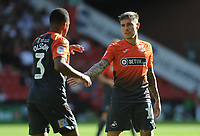 Swansea City's Martin Olsson and Barrie McKay during the Sky Bet Championship match between Sheffield United and Swansea City at Bramall Lane, Sheffield, England, UK. Saturday 04 August 2018