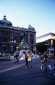 Belgrade, Serbia, Yugoslavia. Street scene; The National Museum on Trg Republika in the city centre.